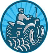 farmer plowing with vintage tractor viewed from the rear set inside oval done in retro style.