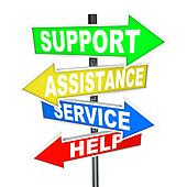 Service Assistance Support Help Arrow Signs Point to Solution