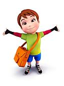 Cute boy with school bag