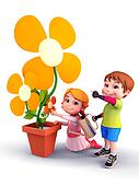 Kids with flowers and water spray