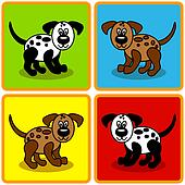 Seamless cartoon dogs over squares