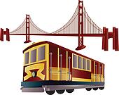 San Francisco Cable Car and Golden Gate Bridge