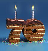 number 70 shaped birthday cake