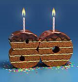 number 80 shaped birthday cake