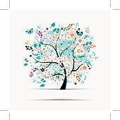 Gift card design with floral tree