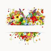 Gift card design with floral heart, four seasons