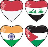 Set of vector images of hearts with the flags of  India, Indonesia, Jordan, Iraq,