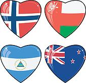 Set of vector images of hearts with the flags of Norway, United Arab Emirates, Nicaragua, New Zealand