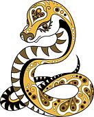 Snake in decorative style
