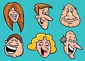 set of happy people faces