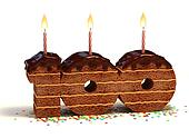 number 100 shaped chocolate cake