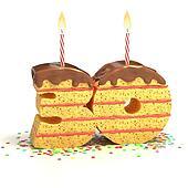 number 30 shaped cake