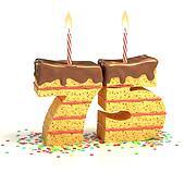 number 75 shaped cake