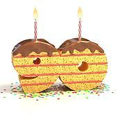 number 90 shaped cake