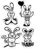 cartoon rabbits set
