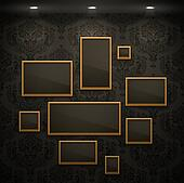 Golden frames on the wall.