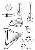 Violin, quitar, lyre, French horn,