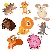 Set of eight  funny animals - mouse