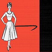 1950's Stle Retro Message Background with a stylish lady