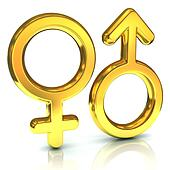 male and female sex symbols, golden
