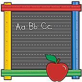 Ruler Blackboard, ABCs, Apple