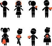 boy girl stick silhouettes