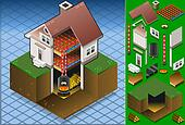 Isometric house Wood fired boiler