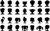 Cartoon Head Silhouettes