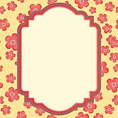 vector frame pink-red and yellow on flowers background isolated on white