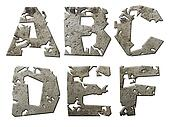 Iron letters series with torn edge isolated on white background.