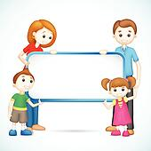 Happy 3d Family in Vector holding Placard
