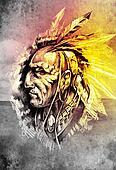 Sketch of tattoo art, indian head over cropfield background
