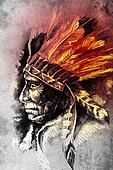 Indian Head Chief Illustration. Sketch of tattoo art, over vintage paper