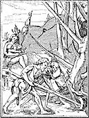 Artwork of Adam and Death Working the Land, vintage engraving