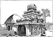 Mahabalipuram in Tamil Nadu, India, vintage engraving