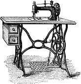 Foot-powered Sewing Machine, vintage engraving