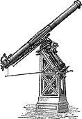 Equatorial telescope called Observatory of Paris, vintage engraving.