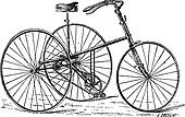 Velocipede, tricycle, vintage engraving.