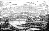 Neolithic Lake-dwelling Station in Latringen, Switzerland, during the Belle Epoque, vintage engraving