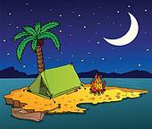 Night island on the sea