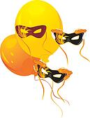 Masquerade masks and balloons
