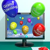 Grand Opening Balloons From Computer Shows New Online Store Launch