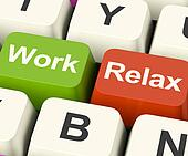 Work Relax Keys Shows Decision To Take A Break Or Start Retirement