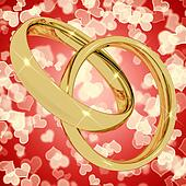 Gold Rings On Heart Bokeh Background Representing Love Valentine
