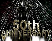 Gold 50th Anniversary With Fireworks For Fiftieth Celebration Or