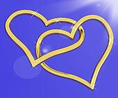 Gold Heart Shaped Rings On Blue Representing Love And Romance