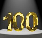 Gold 100th 3d Number Closeup Representing Anniversary Or Birthdays