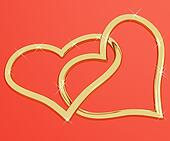Gold Heart Shaped Rings Representing Love And Romance