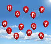 Red Balloons In The Sky Spelling Happy Birthday