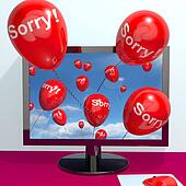 Sorry Balloons From Computer Shows Online Apology Regret Or Remorse